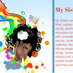 "Young black woman surrounded by flowers accompanies poem titled ""My Sisters"" © 2014 Verneda Lights"